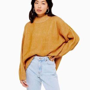 Topshop Mustard Knit Mock Neck Sweater